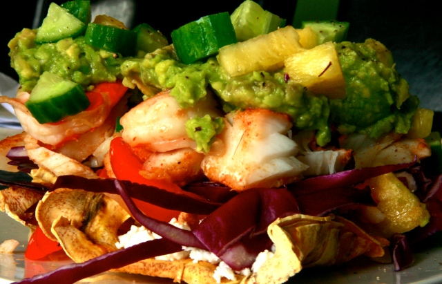 Prawn and Cod Tostada
